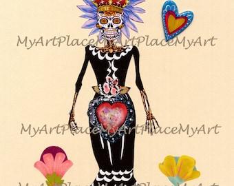 Day of the Dead Collage, Dia de los Muertos Original Art, La Catrina, Mexican Folk Art, Sugar Skull, Skeleton, Mexico, Altered Art Collage