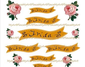 Mexican Banner, Collage Sheets Frida Kahlo, Frida Art, Frida Party, Mexican Art, Digital Download, Clip Art Frida, Latino Art, Folk Art