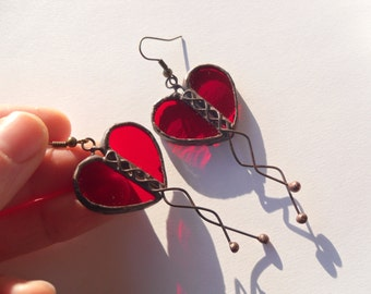 Heart earrings, contemporary earrings, engagement gift, transparent stained glass, artistic jewelry, best friend gift, red earrings, Love