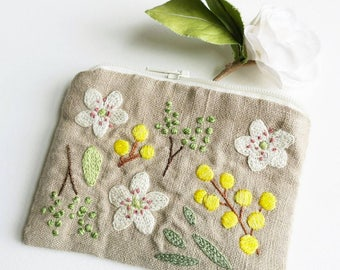 Pear Blossom and Mimosa Card and Coin Purse - Hand Embroidered - Zakka Japanese Style - Linen and Cotton - Zipped Purse
