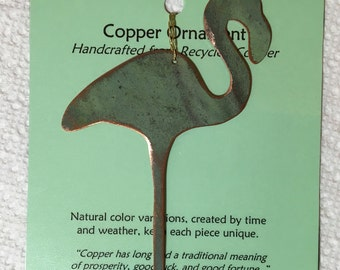Flamingo Ornament - Handcrafted out of Old Copper