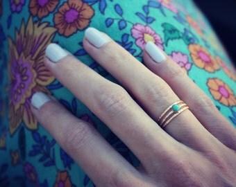 Gold turquoise stacking ring set - set of three rings, turquoise ring set, 14k gold filled rings
