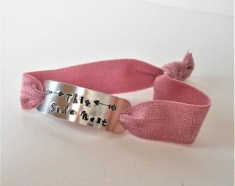 nursing breastfeeding bracelet, this side next hand-stamped cuff, stretch wrist wrap, new mum jewellery, mom gift