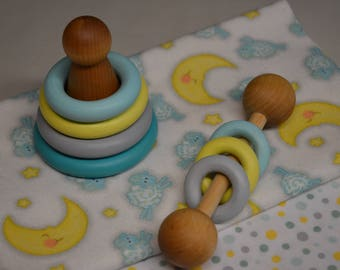 Wooden Rattle and Stacker Montessori Gift Set Gender Neutral Shower Gift (Please read description for size)