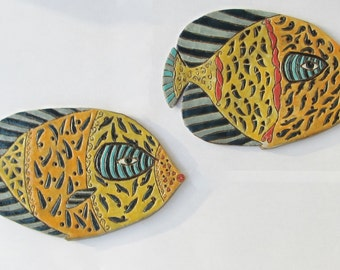 ceramic fish (set of 2); ceramic wall art; ceramic art;