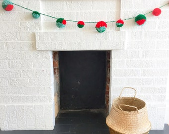 Christmas bulky wool pom pom garland - 6ft - colorful wall decoration green, red, white for Christmas tree, nursery, living room