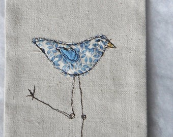 Sea Shore Bird Sun Banner Thread Sketching Whimsical Wall Hanging  Machine Scribble Embroidery Appliqued Flag OOAK Canvas Primitive Wall Art