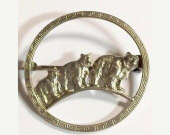 Vintage Sterling Silver Three Bears Circle Brooch