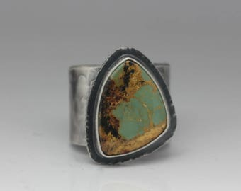 Turquoise Ring, Sterling Silver Ring, Turquoise & Silver Ring, Unisex Statement Ring, Adjustable Size 9