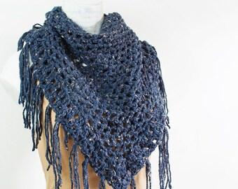 Crochet Navy Blue Boho Fringe Granny Shawl Triangle Scarf Dark Denim Autumn Fall Accessories Boho Chic Lightweight Lacy Wrap