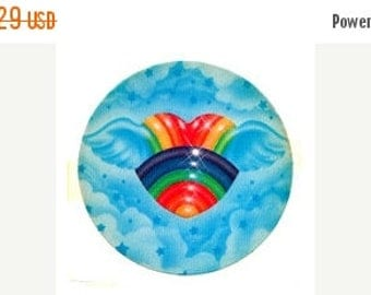 SALE Rare Vintage Lisa Frank Winged Rainbow Heart Sticker 80's Clouds Flying Sky