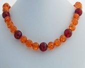 Chunky Tangerine Cognac Amber Designer Beaded Necklace