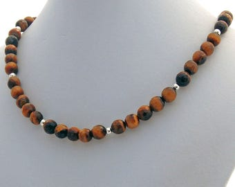 Tiger Eye Faceted Natural Stone Choker