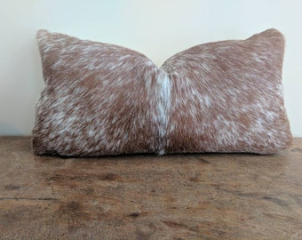 Brazilian Cowhide Pillow Cover fits 9x16 inch pillow / brown and white speckled Hair-on-Cowhide / genuine cowhide pillow cover
