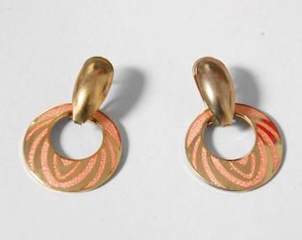 Dangle Hoop Earrings. 70s Costume Jewelry. Coral Earrings. 1970s Gold Earrings. Gold Hoop Earrings. Post Back Earrings. Donut Hole Earrings.