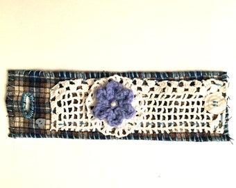 Textile Art  bracelet Cuff Bracelet Boho Bracelet Blue White   Bracelet  Handmade Handstitched
