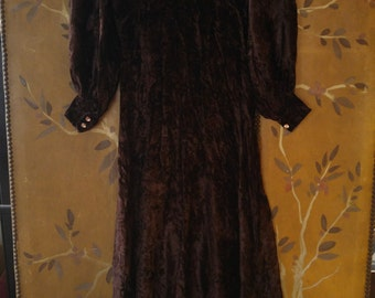 70s brown crushed velvet hand made maxi dress