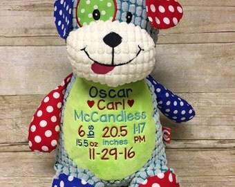 Birth Stat Stuffed Animal, Personalized stuffed animal, Baby gift, Baby keepsake, Embroidered stuffed animal