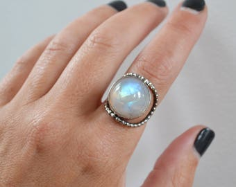 Beaded Round Rainbow Moonstone Ring, Sterling Silver Stone Statement Ring, One of a Kind Moonstone Jewelry