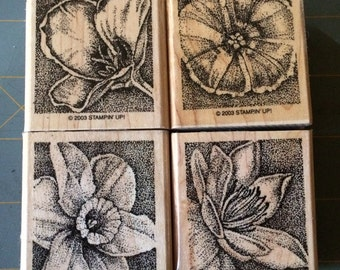 Stampin Up PERFECT PETALS Set of 4  wood mounted stamps  2003  Retired  Woodblock Flowers