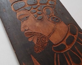Wood Carving Plaque Tribal Decor, Vintage Wood Relief, Majestic Man Portrait Burned Wood, Ethnic Decor, Man Gift Wooden Picture African
