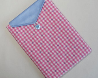 Stock Clearance. Handmade iPad mini and Kindle Fire case/cover/pouch. Pink gingham.