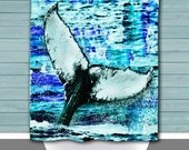 Whale Shower Curtain: Humpback Teal Tail Fluke Fusion Art | Metal Eyelets or Button Holes | Size and Pricing via Dropdown