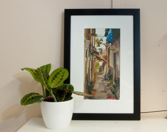 "Original Art // Alley in Siracusa (Sicily no. 13) // 6"" x 12"" // Acrylic Painting on Paper"