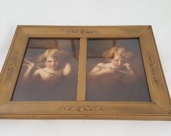 Antique  Framed Cupid Awake  & Cupid Sleeping Prints  Hand Colored Angel /Cupid prints Ornate Gold Wood Framed M B Parkinson Prints Nursery