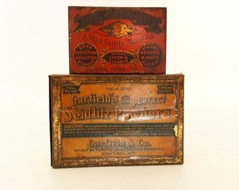 Antique Metal Medicine Tins Pharmaceutical Advertising Tins Antique Laxative Seltzer Powder Metal Tins Quack Home Remedy Containers