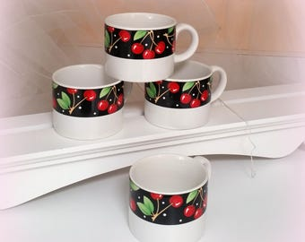Vintage MARY ENGELBREIT Cherry Mugs- 1994 - Life is just a bowl of CHERRIES - Cherry Decor