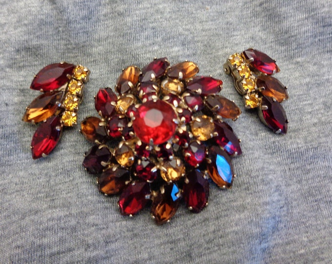 Featured listing image: Rhinestone Brooch  Rhinestone Demi Rhinestone Jewelry Sparkling Red & Orange Chunky Tiered Brooch and Earrings Set