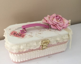 Petite Train Case with Pink Accents