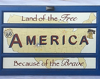 Americana Decor Map Historic Patriotic Handpainted Repurposed Door Military Veterans