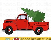 Vintage Pickup Pine Tree Truck Stamp Digital Clip Art Retro