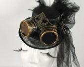Black Steampunk Mini Top Hat Sinamay Steampunk Googles Black Feathers