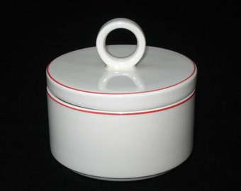 Villeroy & Boch Milano Covered Sugar Bowl w/ Red Trim 1960s Acapulco rel.