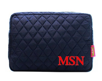 Monogram Quilted Navy Makeup Bag - Solid Navy Quilted Makeup Bag - Monogrammed Make Up Case- Personalized Cosmetic Bag -Monogrammed Gift