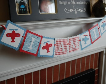 Airplane I am 1 Banner, Time Flies Airplane Birthday, Highchair Banner, I am 1, Airplane Theme, Take Flight, Red, White Blue