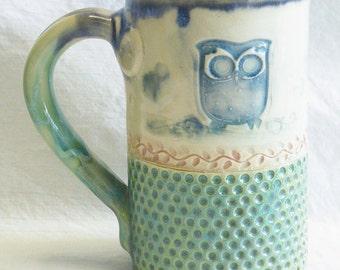 Reserved for Ann Owl ceramic coffee mug 16oz stoneware 16B065