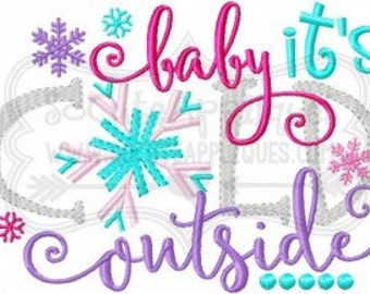 Baby it's cold outside-  Christmas shirt - Christmas & winter applique- Christmas Shirt - Christmas applique shirt - girls holiday shirt