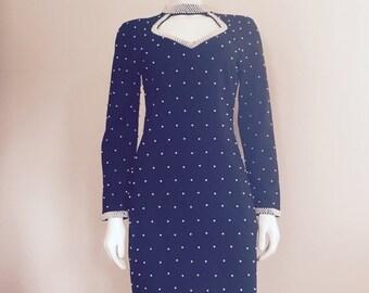 Pearl Dress / 1980s / Black White / LBD / Bodycon Dress / High Fashion