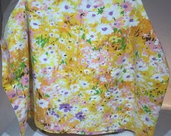 Vintage, twin sheet, floral, flowers, orange, yellow, green, pink, orange, retro, flowers, linens, bedding, flower power,