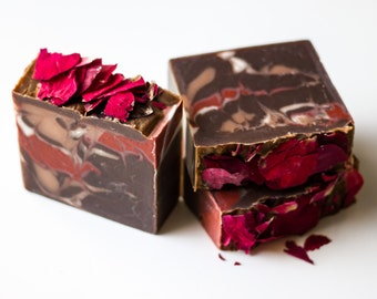 Chocolate-Covered Cherry Soap - Handcrafted Artisan Soap, Cold Process