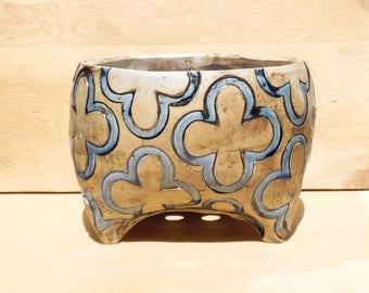 Blue-Black Clover Ceramic Planter (Medium), Succulent Planter, Cactus Planter, Herb Pot, Flower Pot, Ready to Ship