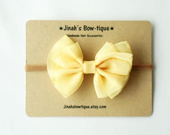Chiffon Bow in Yellow- Headband Nylon Skinny Headband or Hair Clip