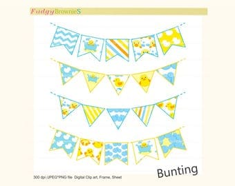ON SALE bunting clip art, easter bunting clip art,baby bunting,flag banners, scrapbook bunting,Flags banner,yellow,blue,Instant Download