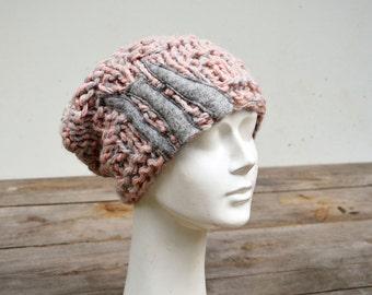 Slouchy knit hat hand knitted pink grey soft warm chunky ooak, unique fashion design art felt stripes applique, winter boho beanie