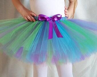 Purple, Green, and Turquiose Tutu, Mermaid Tutu, Peacock Tutu, Birthday Outfit, Baby Shower Gift, Baby Girl Tutu Photo Prop, Toddler Tutu