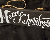 Merry Christmas chalkboard hanging sign on reclaimed wood